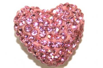 Pink Pave Crystal Half Drilled Heart / Bail Supplied Separately